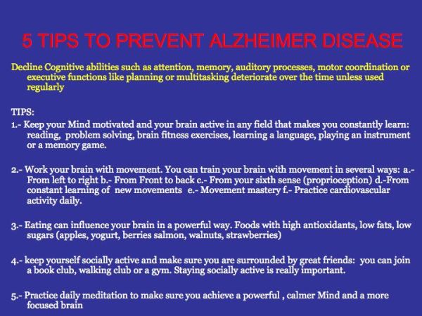 Alzheimer disease-tips to prevent cognitive decline
