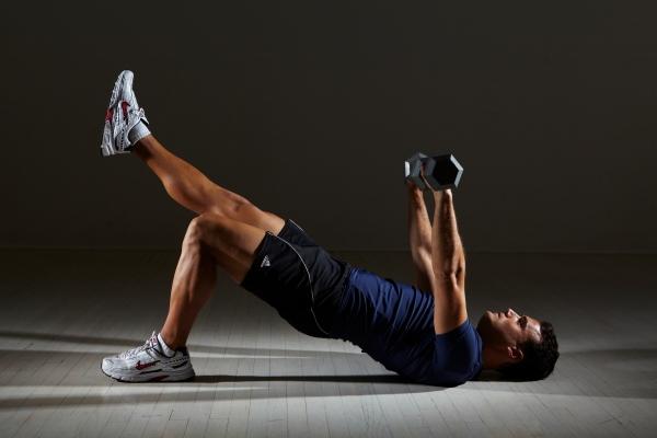 Core move: leg bridges plus chest press
