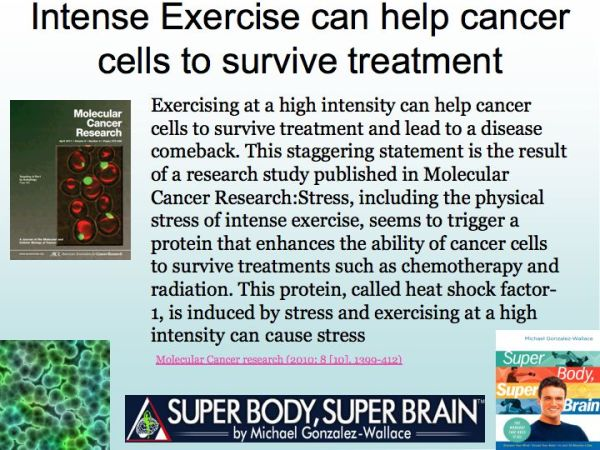 Exercise and Cancer. Michael Gonzalez-Wallace Author of Super Body, Super Brain shares the latest research about Cancer and Exercise