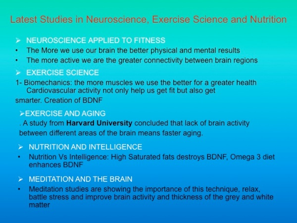 Trends in health, aging, exercise science, neuroscience and meditation