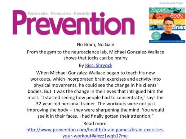 PREVENTION Magazine features Michael Gonzalez-Wallace's brain fitness program, Super Body, Super Brain