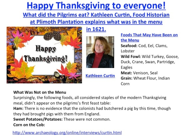 THANKSGIVING MENU. KARIN CURTIS INTERVIEW