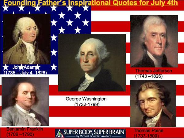 Happy July 4th Founding Fathers Best Quotes Super Body Super Brain
