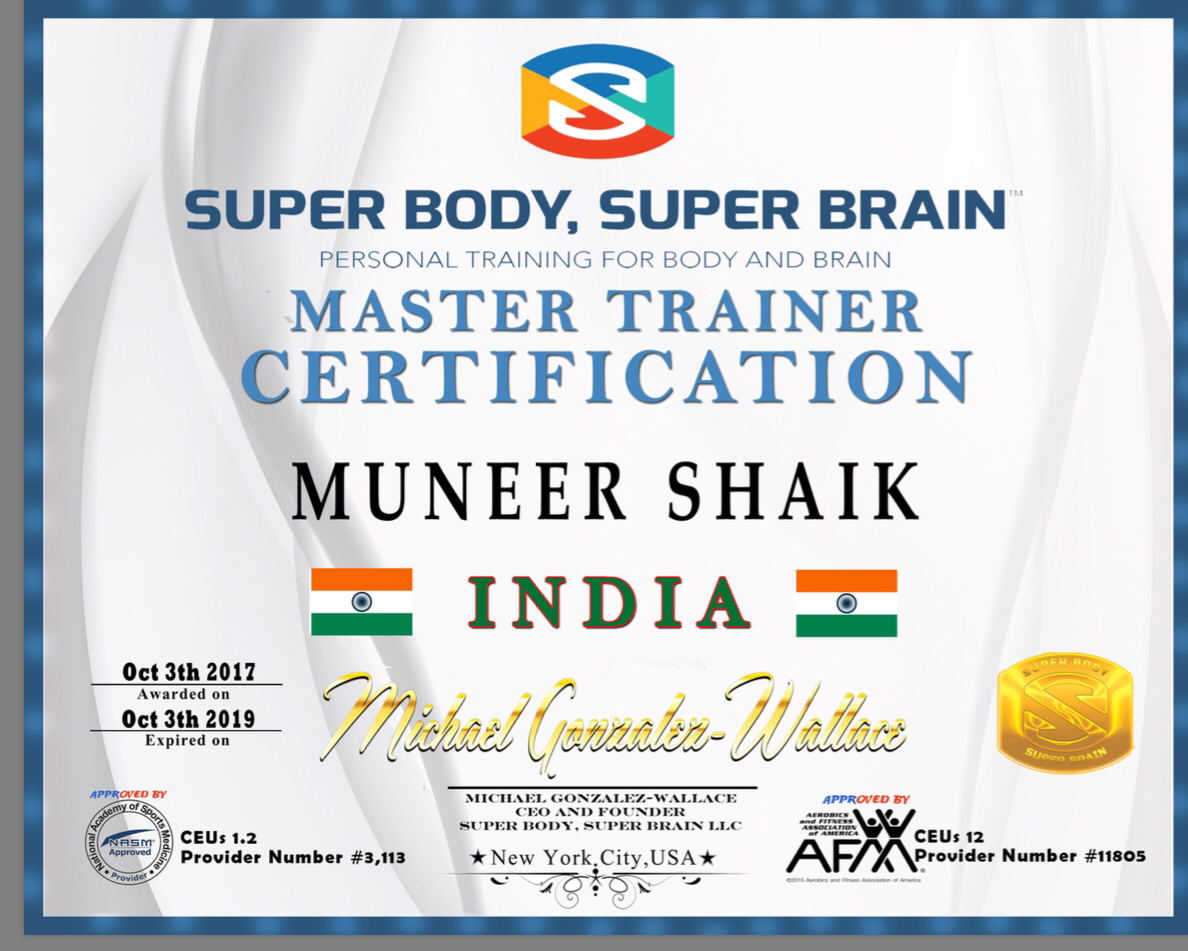 Master trainer certification super body super brain congratulations for passing the master trainer test muneer really excited with the 2nd master trainer in india 1betcityfo Choice Image